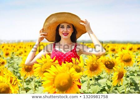 きれいな女性 着用 ビッグ 帽子 ヒマワリ フィールド ストックフォト © dashapetrenko