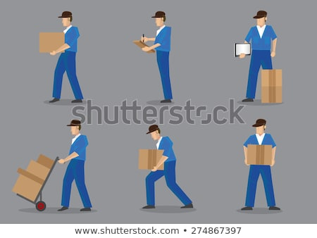 man logistics trolley boxes push stock photo © lenm