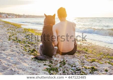 小さな · 白人 · 男性 · 座って · 犬 · ビーチ - ストックフォト © ElenaBatkova