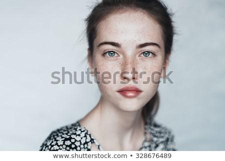közelkép · portré · mosolyog · fiatal · lány · göndör · haj · pózol - stock fotó © deandrobot