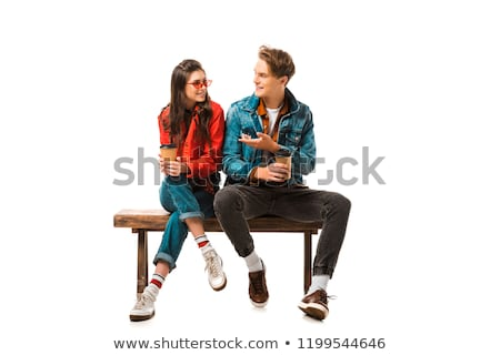 пару сидят скамейке человека женщину студентов Сток-фото © robuart