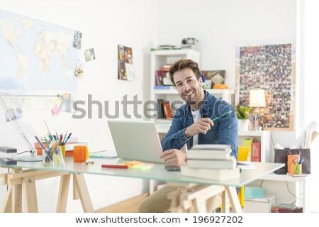 Stockfoto: Naar · huis · laptop · achteraanzicht · twee