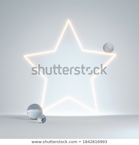 empty neon star frame with text space stock photo © sarts