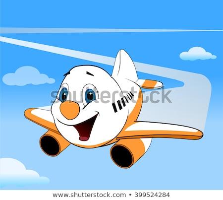Rajz repülőgép pilóta mosolyog repülőgép repülőtér Stock fotó © Voysla