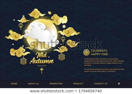 Mid autumn festival sale template of gold rabbit Stock photo © cienpies
