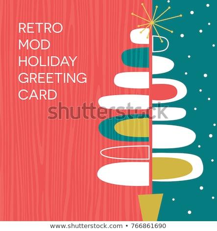 Merry Christmas retro mid century pine tree banner Stock photo © cienpies