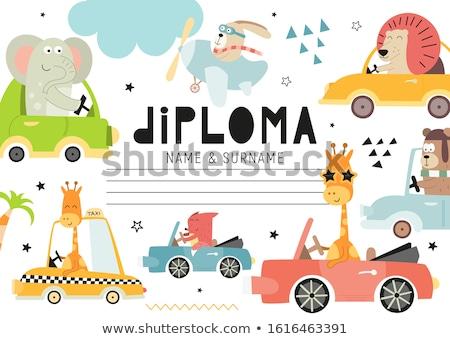 cartoon · olifant · diploma · illustratie · school - stockfoto © bennerdesign