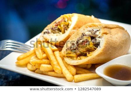 gegrilde · kip · vlees · salade · voedsel · top - stockfoto © galitskaya
