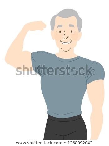 Kıdemli adam uygun esnek doğru kol Stok fotoğraf © lenm