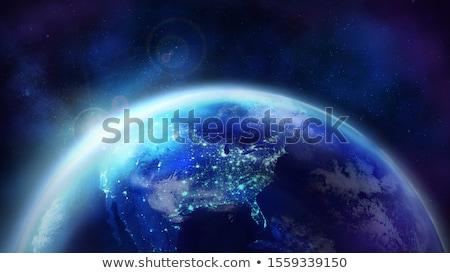 Hajnal Föld éjszaka fél földgömb közelkép Stock fotó © ConceptCafe