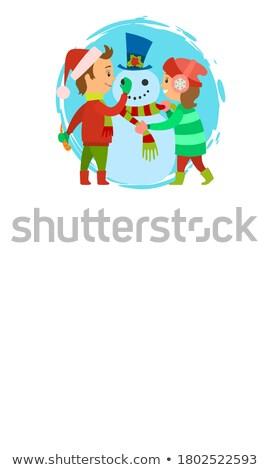 Budować snowman plakat szczęśliwy dzieci zimą Zdjęcia stock © robuart