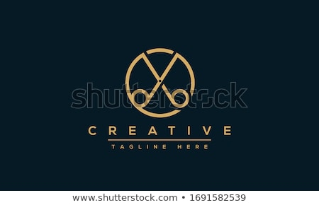 Vintage barbershop or hairdressing salon emblem, scissors and ol Stock photo © gomixer