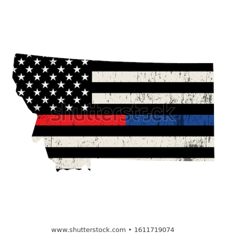 Montana policji strażak wsparcia banderą amerykańską flagę Zdjęcia stock © enterlinedesign