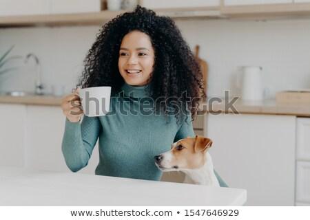 Photo heureux jeune femme afro coiffure blanche Photo stock © vkstudio