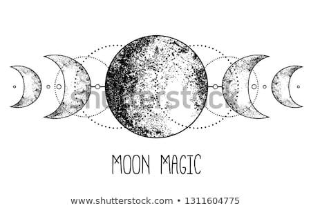 Vintage luna astronomía ilustración noche aislado Foto stock © cienpies