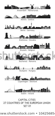 Athens City skyline black and white silhouette. Stock photo © ShustrikS