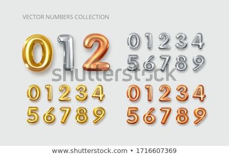 Réz 3D léggömb szám szett izolált Stock fotó © cienpies