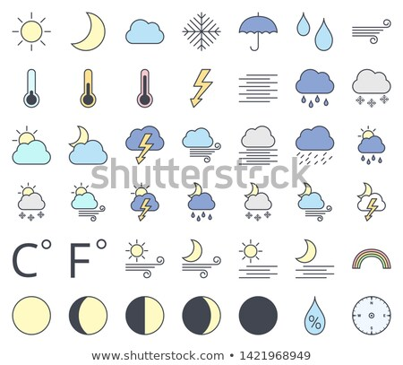 Weather line icon set, filling with pastel colors  - sun, moon phase, cloud, rain, snow, rainbow, th Stock photo © ukasz_hampel