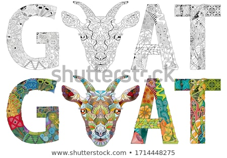 Word GOAT with the head of an animal. Vector zentangle object for decoration Stock photo © Natalia_1947