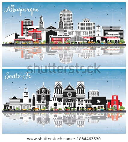 Mexico Skyline with Color Buildings, Blue Sky and Reflections. Stock photo © ShustrikS
