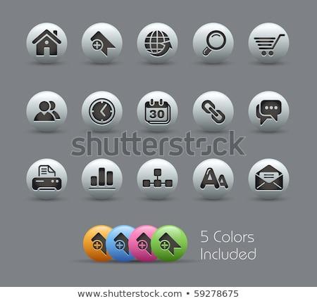 Интернет иконы черный вектора иконки веб Сток-фото © Palsur