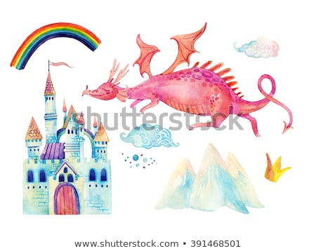 Set of children is fairy tale castle and dragon with rainbow in  Stock photo © bluering