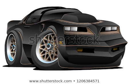 Classic American Seventies Muscle Car Cartoon, Gold with Black Stripes, Popping a Wheelie, Isolated  Stock photo © jeff_hobrath