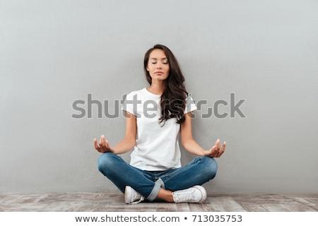 йога женщину медитации изолированный молодые расслабляющая Сток-фото © fxegs