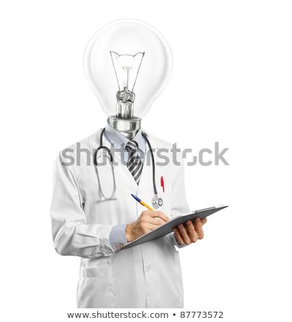 lekarza · mężczyzna · piśmie · coś · znacznik · szkła - zdjęcia stock © leedsn