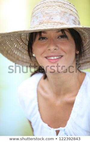 30 lat starych brunetka słomkowy kapelusz lata Zdjęcia stock © photography33