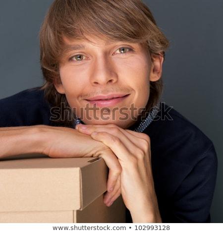 молодым · человеком · белый · стороны · лице · моде · модель - Сток-фото © hasloo