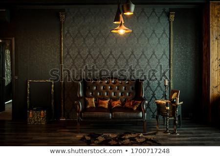 Klasszikus belső kőfal fapadló textúra fa Stock fotó © IMaster