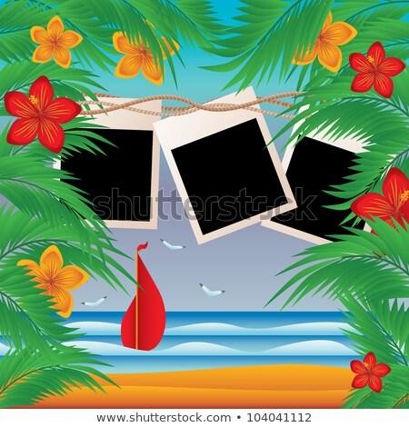 Summer photoframe in style a skrapbooking, vector illustration Stock photo © carodi