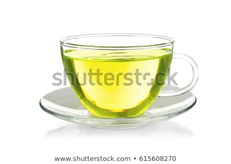 Cup of green tea isolated on white 