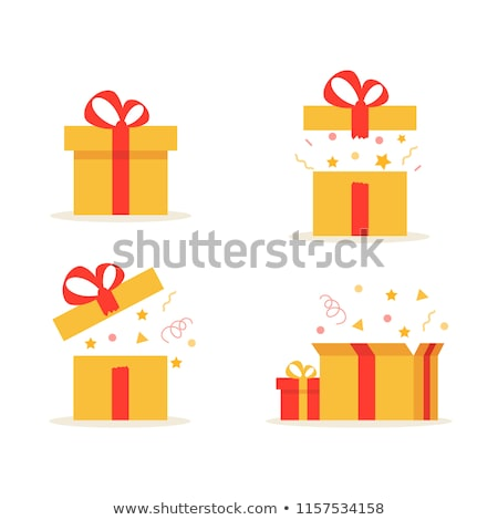 Conjunto abrir caixas de presente dourado arco preto Foto stock © fixer00