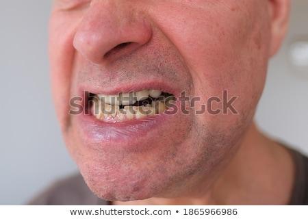 colère · homme · dents · visage · cheveux · croix - photo stock © photography33