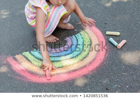 child's chalk drawing Stock photo © raywoo