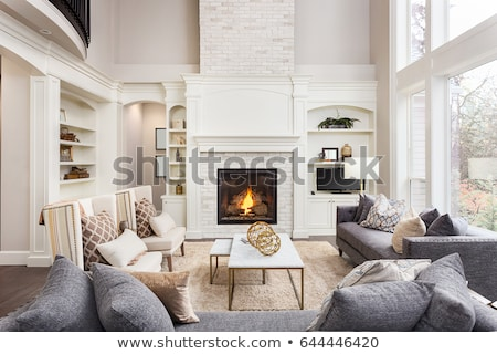 living room with fireplace and tv stock photo © iriana88w