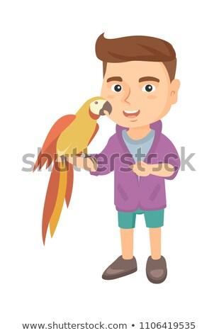 papagáj · iskolás · fiú · rajzfilmfigura · vicces · izolált · fehér - stock fotó © RAStudio
