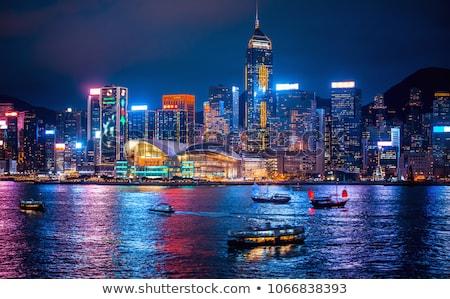 Foto stock: Hong · Kong · noite · linha · do · horizonte · ilha · negócio · céu