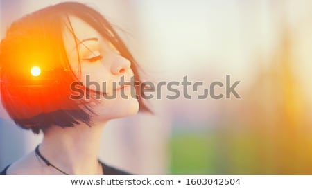 Retrato sonhador mulher preto e branco moda beleza Foto stock © acidgrey