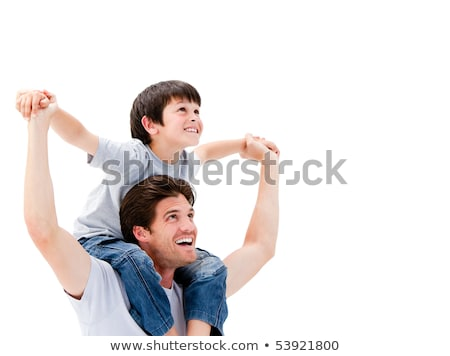 Loving father giving his son piggyback ride against a white background Stock photo © wavebreak_media