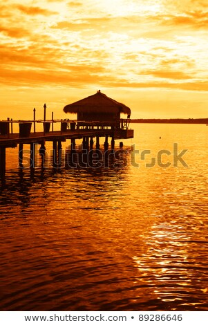 Backlit Pier at Sunset with Sun and Clouds Stock photo © oliverjw