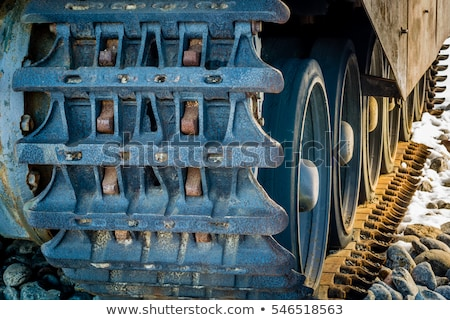 Closeup Of Army Tank Track Wheels Stock photo © michaklootwijk