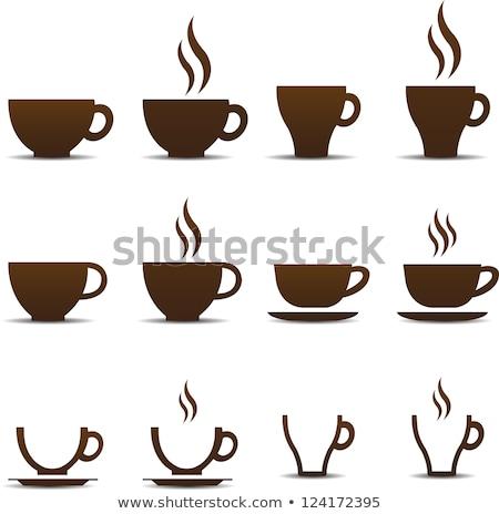 granos · de · café · forma · taza · de · café · aislado · blanco · alimentos - foto stock © Len44ik