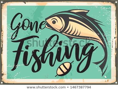 balık · tutma · imzalamak · tebeşir · küçük · tahta - stok fotoğraf © obscura99