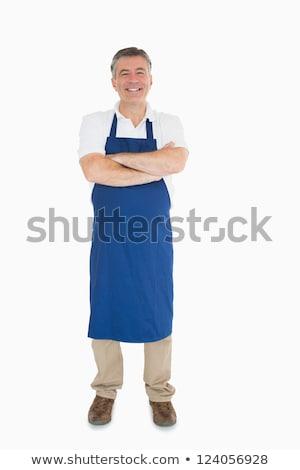 Lachend man Blauw schort glimlachend mannelijke Stockfoto © wavebreak_media