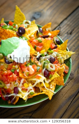 Tortilla chips groenten nachos kaas hot Stockfoto © M-studio