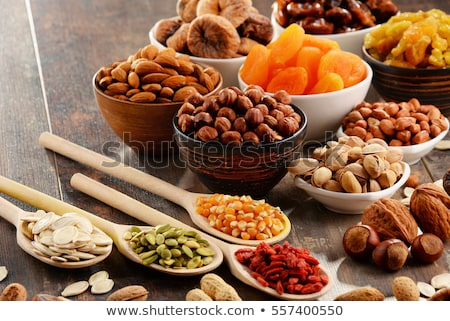 mixed dried fruit, nuts and seeds Stock photo © saddako2