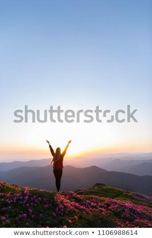 Mulher olhando vale nascer do sol em pé de volta Foto stock © przemekklos